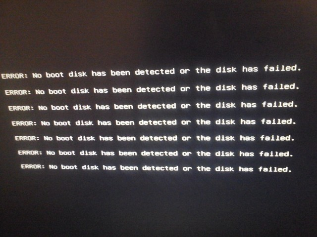Ошибка: ERROR: No boot disk has been detected or the disk has failed.